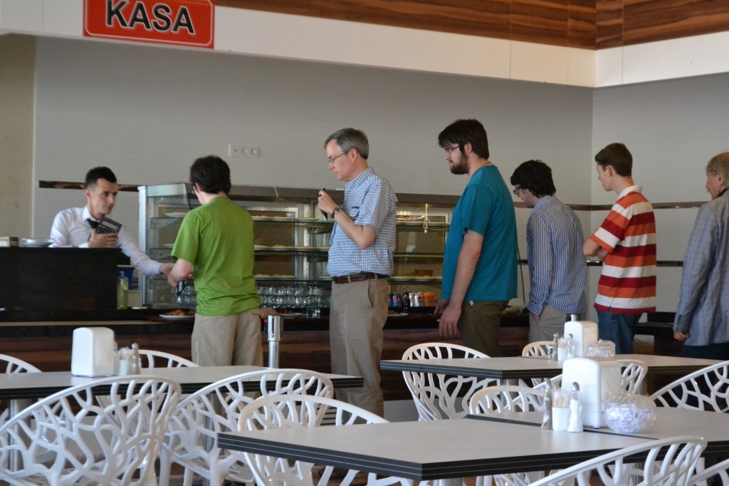Our typical lunch break: cafeteria-style restaurants hosted by gas stations
