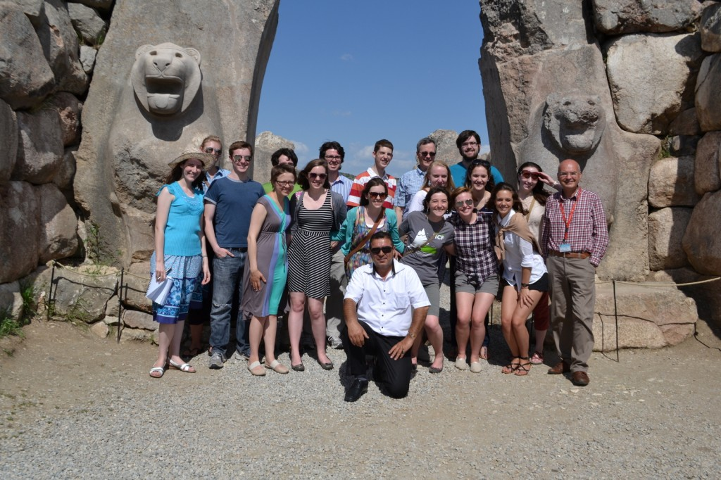 The whole crew, braving the Lion Gate