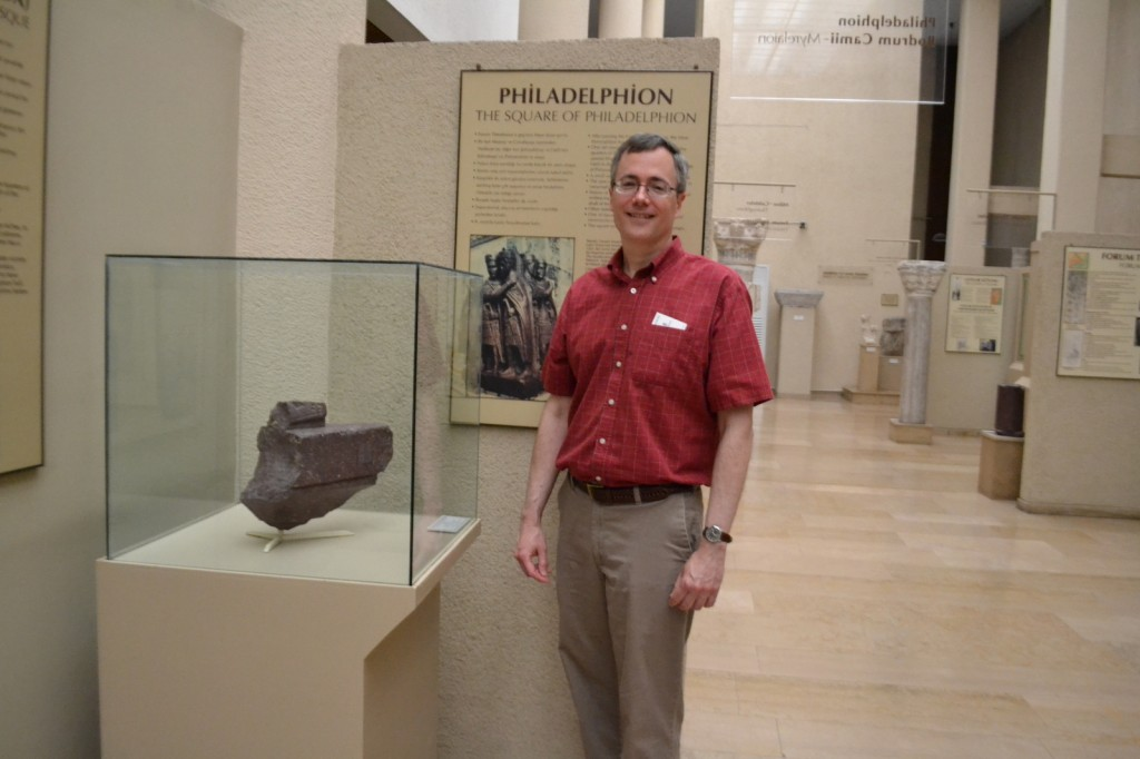 Hence this fragment of porphyry foot from the Roman Tetrarchy (the emperor's throne divided among four co-sovereigns); see the complete sculpture behind Dr. G.